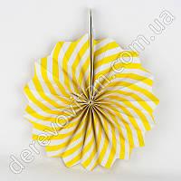 Подвесной веер, желто-белый, 40 см - бумажный декор-розетка