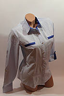 Женские классические рубашки в полоску оптом VSA светло-голубой