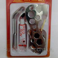 Ремнабор велосипедиста + семейный ключ, ремкомплект для велосипеда, велоаптечка
