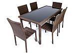 Набір меблів з штучного ротангу: стіл + 6 крісел, фото 2