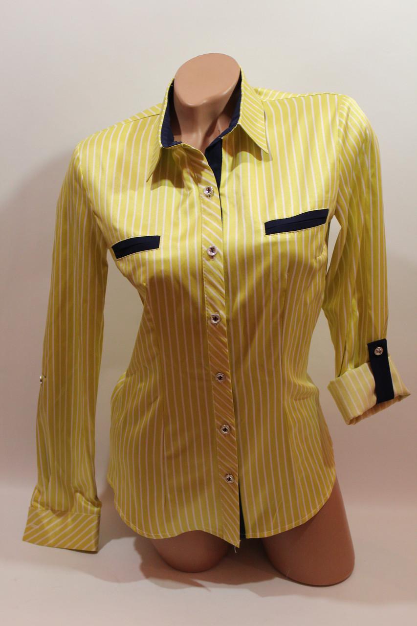 Женские классические рубашки в полоску оптом VSA лимонный