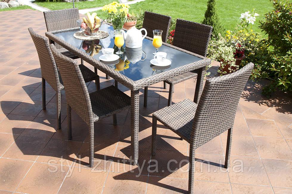 Набір меблів з штучного ротангу: стіл + 6 крісел