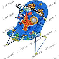 Шезлонг-качалка BC 101-A, дуга с 3 подвесками, музыка, вибрация, на батарейках, спинка 3 положения, цвет синий