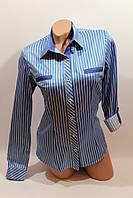 Женские классические рубашки в полоску оптом VSA голубой
