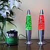Глиттер лампа 48 см, лампа с блестками, парафиновая лампа с блестками, цвет зеленый
