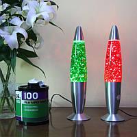 Глиттер лампа 48 см, лампа с блестками, парафиновая лампа с блестками, цвет зеленый, фото 1