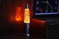 Глиттер лампа 31 см, лампа с блестками, парафиновая лампа с блестками, цвет оранжевый