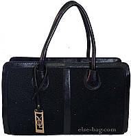 Черная сумка с натуральным замшем в камнях
