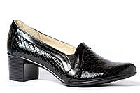 Женские классические туфли из натуральной лаковой рептилии