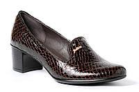 Классические туфли на широком каблуке, коричневая лаковая рептилия