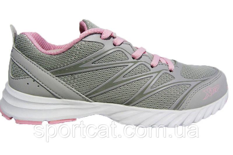 Женские кроссовки XTep, сетка/кожа, серые с розовым