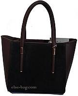 Коричневая женская сумка с натуральным  замшем