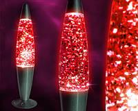 Глиттер лампа 31 см, лампа с блестками, парафиновая лампа с блестками, цвет красный