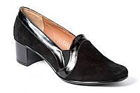 Замшевые женские туфли на широком каблуке