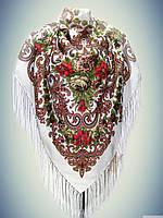 Шерстяной платок Лилия, молочный