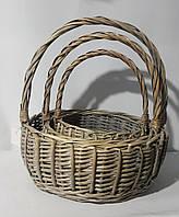 Набор больших плетеных корзин круглые с ручкой 012, 3 шт