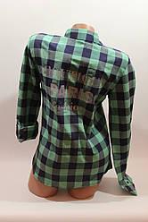 Женские рубашки в клетку с надписями на спине оптом VSA зеленый-синий