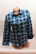 Женские рубашки в клетку с надписями на спине оптом VSA голубой-синий, фото 2