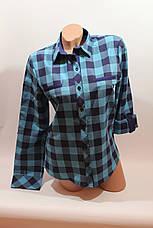 Женские рубашки в клетку с надписями на спине оптом VSA голубой-синий, фото 3
