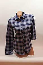 Женские рубашки в клетку с надписями на спине оптом VSA джинс-синий, фото 3