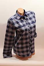 Женские рубашки в клетку с надписями на спине оптом VSA джинс-синий, фото 2