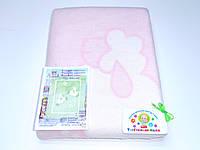 Хлопковое одеяло в роддом (нежно-розовое с барашками)