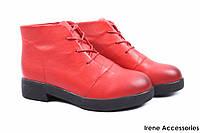 Стильные ботинки женские Mimi Farrini натуральная кожа цвет красный (ботильоны, каблук, кожа, шнуровка)