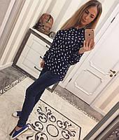 Синяя женская рубашка креп-шифон, фото 1