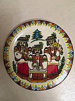"""Декоративна тарілка дерев'яна мальована """"Три гуцули"""", фото 1"""
