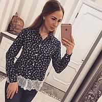 Женская рубашка креп-шифон с кружевом, фото 1