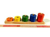Деревянная развивающая игрушка Пирамидка счёт от 1 до 5 Розумний Лис (90002)