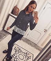 Рубашка креп-шифон с кружевом в горох