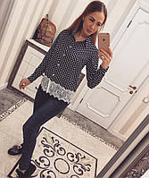 Рубашка креп-шифон с кружевом в горох, фото 1