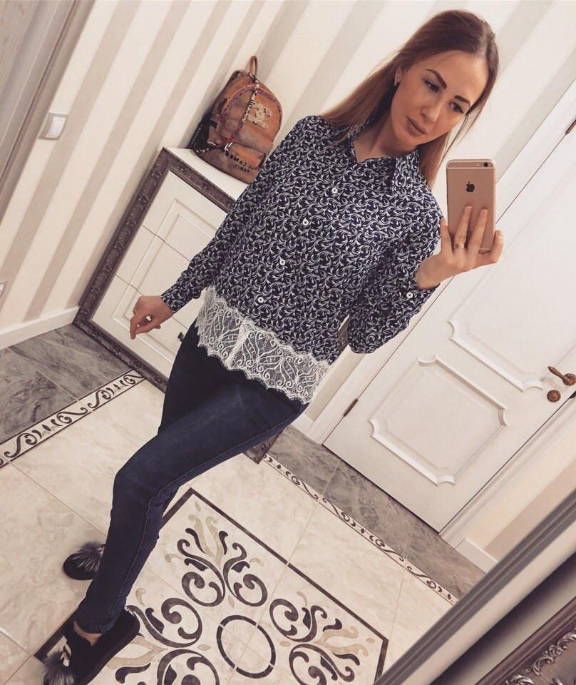 Женская рубашка креп-шифон с дорогим кружевом
