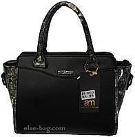 Черная маленькая сумка с крокодиловыми вставками