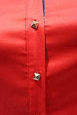 Женские однотонные рубашки (хлопок+ликра) Mod-da+cat-a norma т.синий, фото 2