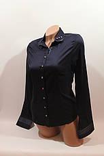 Женские однотонные рубашки (хлопок+ликра) Mod-da+cat-a norma т.синий, фото 3