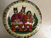 """Декоративна тарілка дерев'яна мальована """"Гуцульські музики 2"""", фото 1"""
