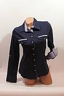 Женские однотонные рубашки (хлопок+ликра) Mod-da+cat-a norma 5420 т.синий