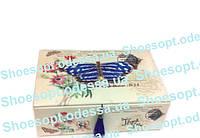 Шкатулка - кейс кожзам Бабочка с двойным дном