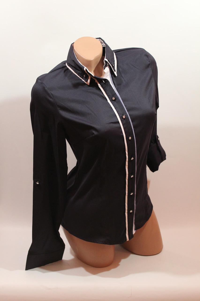 Женские однотонные рубашки (хлопок+ликра) Mod-da+cat-a norma 5453 т.синий