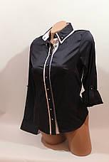 Женские однотонные рубашки (хлопок+ликра) Mod-da+cat-a norma 5453 т.синий, фото 2