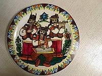 """Декоративна тарілка дерев'яна мальована """"Веселі музики"""""""