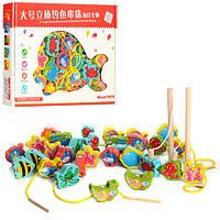 Деревянная игрушка Магнитная рыбалка + шнуровка