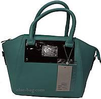 Изумрудная сумочка с лаковой вставкой