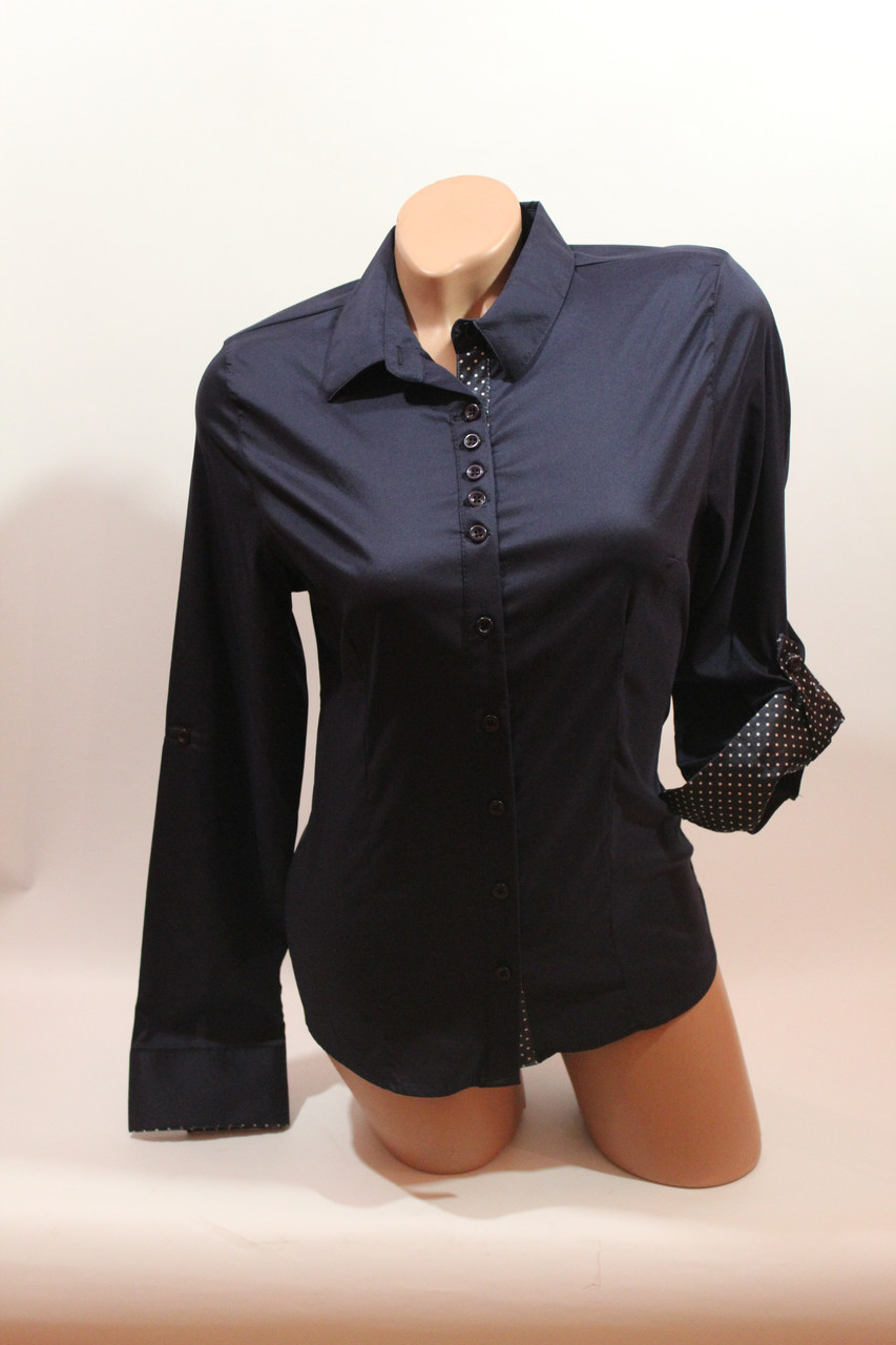Женские однотонные рубашки (хлопок+ликра) Mod-da+cat-a norma 5614 т.синий