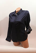 Женские однотонные рубашки (хлопок+ликра) Mod-da+cat-a norma 5614 т.синий, фото 2