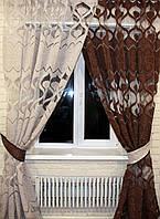 Комплект тюль шторы.На карниз 2-2,5м.  Цвет серый с коричневым е227