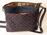 Женская джинсовая стеганная сумочка Астры, фото 4