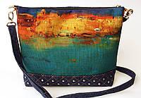 Женская джинсовая стеганная сумочка Бирюза, фото 1